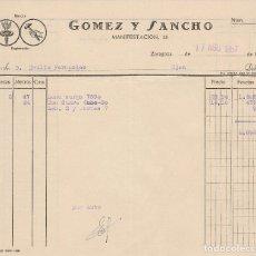 Facturas antiguas: FACTURA. GOMEZ Y SANCHO. ZARAGOZA 1957.. Lote 75101711
