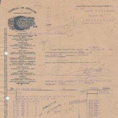 Facturas antiguas: FACTURA. LA VENECIANA S.A. FABRICA DE ESPEJOS Y VIDRIERAS ARTISTICAS . ZARAGOZA. 1941.. Lote 75104223