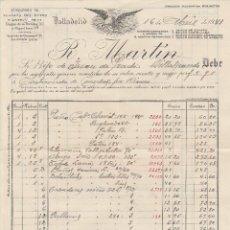 Facturas antiguas: FACTURA. R. MARTÍN. ALMACENES DE TEJIDOS DEL REINO Y EXTRANJEROS. VALLADOLID. 1941.. Lote 75223663