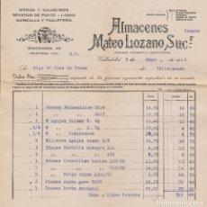 Facturas antiguas: FACTURA. ALMACENES MATEO LOZANO SUCR. MEDIAS Y CALCETINES. GÉNEROS DE PUNTO. VALLADOLID. 1941.. Lote 75225987