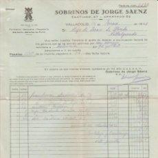 Facturas antiguas: FACTURA. SOBRINOS DE JORGE SAENZ. FERRETERIA, QUINCALLA, PAQUETERIA. VALLADOLID. 1941.. Lote 75226611