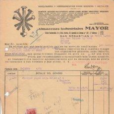 Facturas antiguas: FACTURA. ALMACENES INDUSTRIALES MAYOR. HERRAMIENTAS PARA MADERA Y METALES. SAN SEBASTIAN. 1942.. Lote 75813987