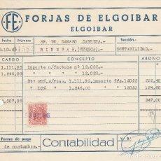 Facturas antiguas: FACTURA. FORJAS DE ELGOIBAR. ELGOIBAR . 1945.. Lote 75885795