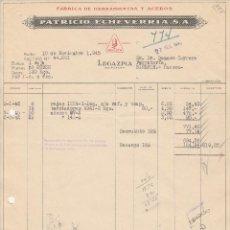 Facturas antiguas: FACTURA. PATRICIO ECHEVARRIA, S.A. FABRICA DE HERRAMIENTAS Y ACEROS. LEGAZPIA-GUIPUZCOA. 1945.. Lote 76090447