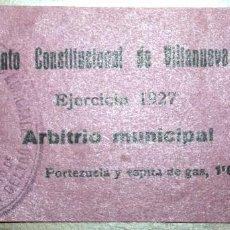 Facturas antiguas: RECIBO GAS 1927 PORTEZUELA Y ESPITA DE GAS AYUNTAMIENTO CONSTITUCIONAL DE VILLANUEVA Y GELTRÚ . Lote 76681315