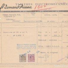 Facturas antiguas: FACTURA. FROMANO PICAZA. TALLERES ELECTROMECÁNICOS. ZARAGOZA. 1960.. Lote 76710251