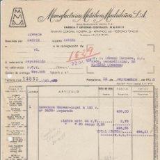 Facturas antiguas: FACTURA. MANUFACTURAS METÁLICAS MADRILEÑAS, S.A. PAMPLONA. 1958.. Lote 76724639