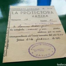 Facturas antiguas: RECIBO DE 1945. SOCIEDAD AGRÍCOLA LA PROTECTORA. JATIVA ( VALENCIA). Lote 76761678
