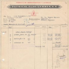 Facturas antiguas: FACTURA. PATRICIO ECHEVARRIA, S.A. FABRICA DE HERRAMIENTAS Y ACEROS. LEGAZPIA-GUIPUZCOA. 1945.. Lote 76892671