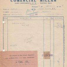 Facturas antiguas: FACTURA. COMERCIAL MILLAN. ZARAGOZA. 1957.. Lote 77205469