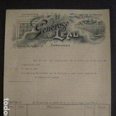 Facturas antiguas: CEMENTOS Y MOSAICOS - GENEROSO LEAL - ZARAGOZA -FACTURA ANTIGUA -VER FOTOS-(V-9376). Lote 78175593