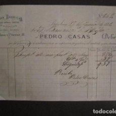 Facturas antiguas: FABRICA CORREAS TIRETAS ....- PEDRO CASAS - BARCELONA -FACTURA ANTIGUA-VER FOTOS-(V-9403). Lote 78179201