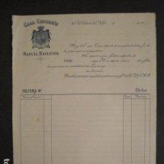 Facturas antiguas: CASA CODORNIU - MANUEL RAVENTOS - SAN SADURNI DE NOYA -FACTURA ANTIGUA-VER FOTOS-(V-9405). Lote 78263869