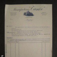 Facturas antiguas: MANUFACTURAS TANQUE - J. FERNANDEZ - BARCELONA -FACTURA ANTIGUA-VER FOTOS-(V-9407). Lote 78264037