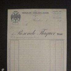 Facturas antiguas: PAÑUELOS DOBLADILLOS - ROSENDO FLAQUER - BARCELONA -FACTURA ANTIGUA-VER FOTOS-(V-9409). Lote 78264269