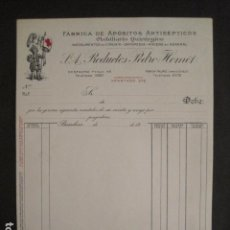 Facturas antiguas: POSUITOS ANTISEPTICOS - PEDRO HOMET - BARCELONA -FACTURA ANTIGUA-VER FOTOS-(V-9416). Lote 78265449