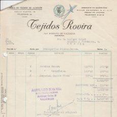 Facturas antiguas: FACTURA. TEJIDOS ROVIRA. FÁBRICA DE TEJIDOS DE ALGODÓN. BARCELONA. 1957.. Lote 78269661