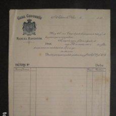 Facturas antiguas: CASA CODORNIU - MANUEL RAVENTOS - SAN SADURNI DE NOYA -FACTURA ANTIGUA-VER FOTOS-(V-9446). Lote 78271005