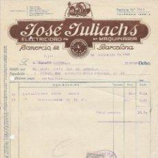 Facturas antiguas: FACTURA. JOSÉ JULIACHS. ELECTRICIDAD-MAQUINARIA. BARCELONA. 1926.. Lote 78319433