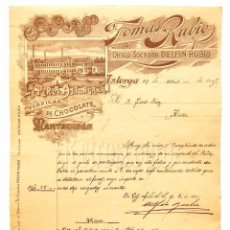 Factures anciennes: FACTURA CHOCOLATES LA PERLA ASTORGANA. TOMAS RUBIO. SUCESOR DELFIN RUBIO. ASTORGA LEON AÑO 1905. Lote 79117493