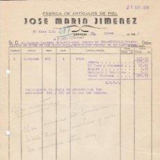 Factures anciennes: FACTURA. JOSE MARIN JIMENEZ. FÁBRICA DE ARTÍCULOS DE PIEL. UBRIQUE. 1956.. Lote 79652845
