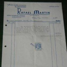 Facturas antiguas: FACTURA MEMBRETE- TALLERES EBANISTARIA RAFAEL MARTIN, GRACIA BARCELONA 1960. Lote 80135497