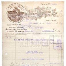 Facturas antiguas: FACTURA VINOS LICORES R. LÓPEZ DE HEREDIA. VIÑA TONDONIA. HARO LA RIOJA 1940. Lote 177659213