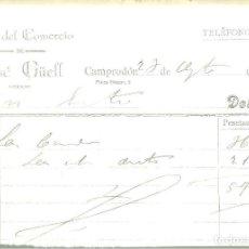 Facturas antiguas: 980.- CAMPRODON-FACTURA DEL HOTEL DEL COMERCIO DE JOSE GÜELL DE CAMPRODON-AGOSTO DE 1921. Lote 80714630