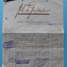 Facturas antiguas: GUERRA CIVIL - VALLADOLID FALANGE CENTRAL OBRERA NACIONAL SINDICALISTA (CONS) - FACTURA - VER DATOS. Lote 81665328