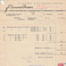 Facturas antiguas: FACTURA. FROMANO PICAZA. TALLERES ELECTROMECÁNICOS. ZARAGOZA.1960.. Lote 81707916