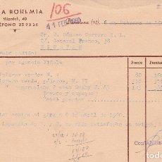 Facturas antiguas: FACTURA. CASA BOHEMIA. BARCELONA. 1960. Lote 81826180
