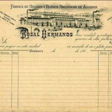 Facturas antiguas: FACTURA LITOGRAFIA FABRICA DE HILADOS Y TEJIDOS ROSAL HERMANOS. BARCELONA. AÑOS 1900. Lote 81922416