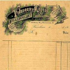 Facturas antiguas: FACTURA LITOGRAFIA FERRETERIA VILASECA MARSAL CALLE HOSPITAL 22 Y MENDIZABAL 21. BARCELONA. AÑO 1890. Lote 81928112