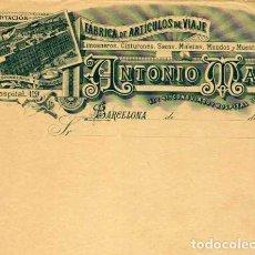 Facturas antiguas: FACTURA LITOGRAFIA FABRICA ARTICULOS DE VIAJE DE ANTONIO MAS. CALLE HOSPITAL 119. BARCELONA AÑO 1890. Lote 82075272