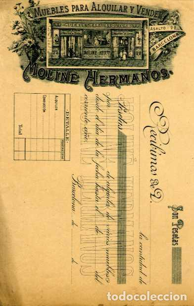 FACTURA LITOGRAFIA MUEBLES PARA ALQUILAR Y VENDER MOLINE HERMANOS CALLE ASALTO. BARCELONA. AÑO 1890 (Coleccionismo - Documentos - Facturas Antiguas)