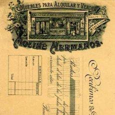 Facturas antiguas: FACTURA LITOGRAFIA MUEBLES PARA ALQUILAR Y VENDER MOLINE HERMANOS CALLE ASALTO. BARCELONA. AÑO 1890. Lote 82076624