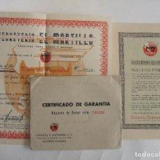 Facturas antiguas: FACTURA Y GARANTIA MAQUINA DE COSER SIGMA - 1952 - FERRETERIA EL MARTILLO - MALAGA. Lote 82157156