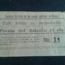 Facturas antiguas: TICKET RESGUARDO SERVICIO SILLAS PASEOS PUBLICOS BURGOS. Lote 82185084