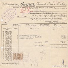 Factures anciennes: FACTURA. MANUFACTURAS BERNAR. BERNARDO SUÁREZ FOMBONA. GIJÓN-ASTURIAS. 1961. Lote 82338244