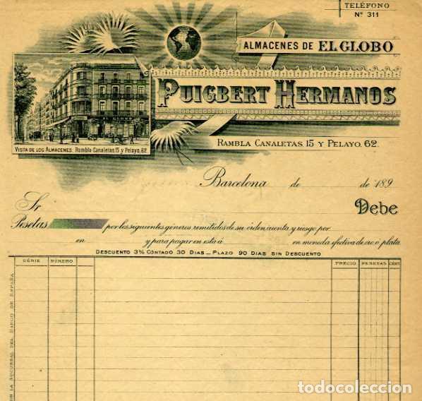 FACTURA LITOGRAFIA PUIGBERT HERMANOS RAMBLA CANALETAS 15 Y PELAYO 62 BARCELONA AÑO 1890 (Coleccionismo - Documentos - Facturas Antiguas)