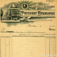 Facturas antiguas: FACTURA LITOGRAFIA PUIGBERT HERMANOS RAMBLA CANALETAS 15 Y PELAYO 62 BARCELONA AÑO 1890. Lote 82646020