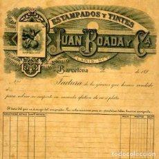 Facturas antiguas: FACTURA LITOGRAFIA ESTAMPADOS Y TINTES JUAN BOADA CALLE CLARIS 7 BARCELONA AÑO 1890. Lote 82649148