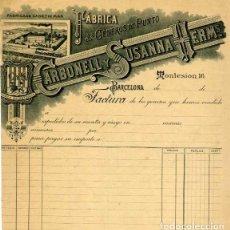 Facturas antiguas: FACTURA LITOGRAFIA FABRICA DE GENEROS DE PUNTO CARBONELL Y SUSANNA CANET DE MAR BARCELONA AÑO 1890. Lote 82652068