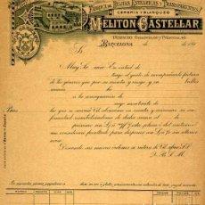 Facturas antiguas: FACTURA LITOGRAFIA FABRICA DE BUJIAS MELITON CASTELLAR CALLE AUSIAS MARCH Nº 7 BARCELONA AÑO 1890. Lote 82864044