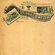 Facturas antiguas: FACTURA LITOGRAFIA FABRICA DE BORDADOS PEDRO COMELLA BARCELONA AÑO 1890. Lote 82866024