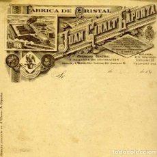 Facturas antiguas: FACTURA LITOGRAFIA FABRICA DE CRISTAL JUAN GIRALT LAPORTA CORNELLA BARCELONA AÑO 1890. Lote 82871492