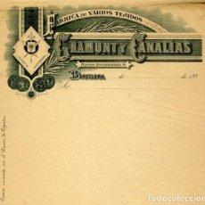 Facturas antiguas: FACTURA LITOGRAFIA FABRICA DE TEJIDOS GRAMUNT Y CANALIAS CALLE RONDA UNIVERSIDAD BARCELONA AÑO 1890. Lote 82872276