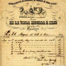 Fatture antiche: FACTURA LITOGRAFIA CARRUAJES DE ALQUILER VIUDA BIGORRA E HIJO CALLE DEL PINO Nº 1 BARCELONA AÑO 1856. Lote 82876496
