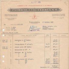 Facturas antiguas: FACTURA. PATRICIO ECHEVARRIA, S.A. FABRICA DE HERRAMIENTAS Y ACEROS. LEGAZPIA-GUIPUZCOA. 1955.. Lote 83484836