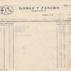 Facturas antiguas: FACTURA. GOMEZ Y SANCHO. ZARAGOZA 1957.. Lote 83550404